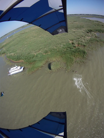 our floating powered highly mobile kitebeach from above